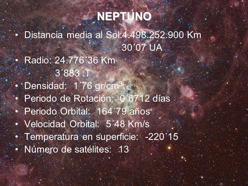 NEPTUNO Distancia media al Sol:4.498.252.900 Km 30´07 UA