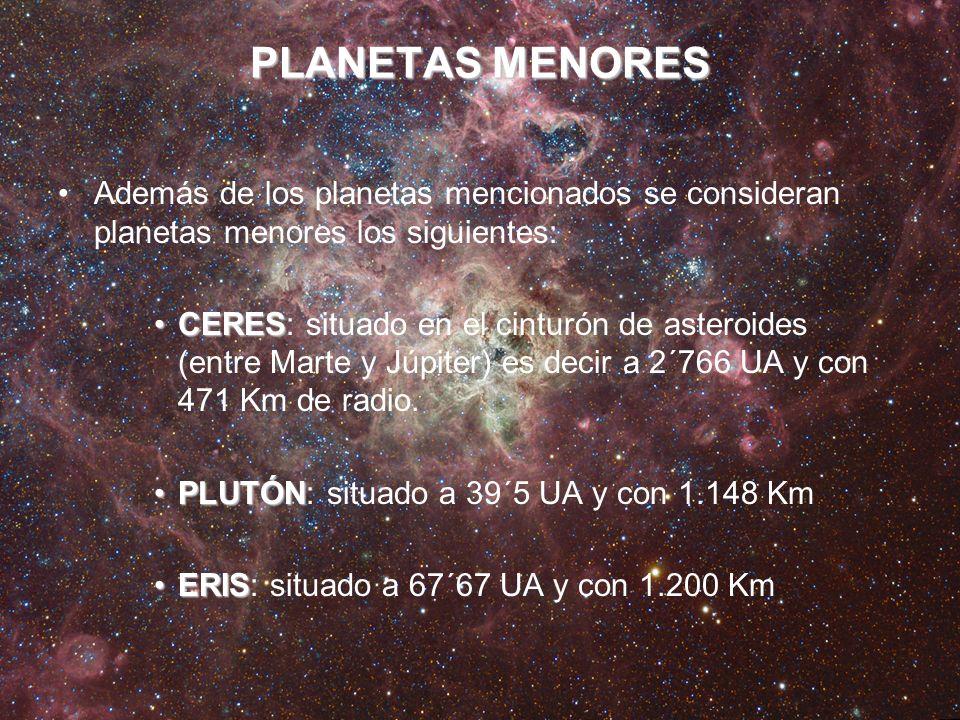 PLANETAS MENORES Además de los planetas mencionados se consideran planetas menores los siguientes:
