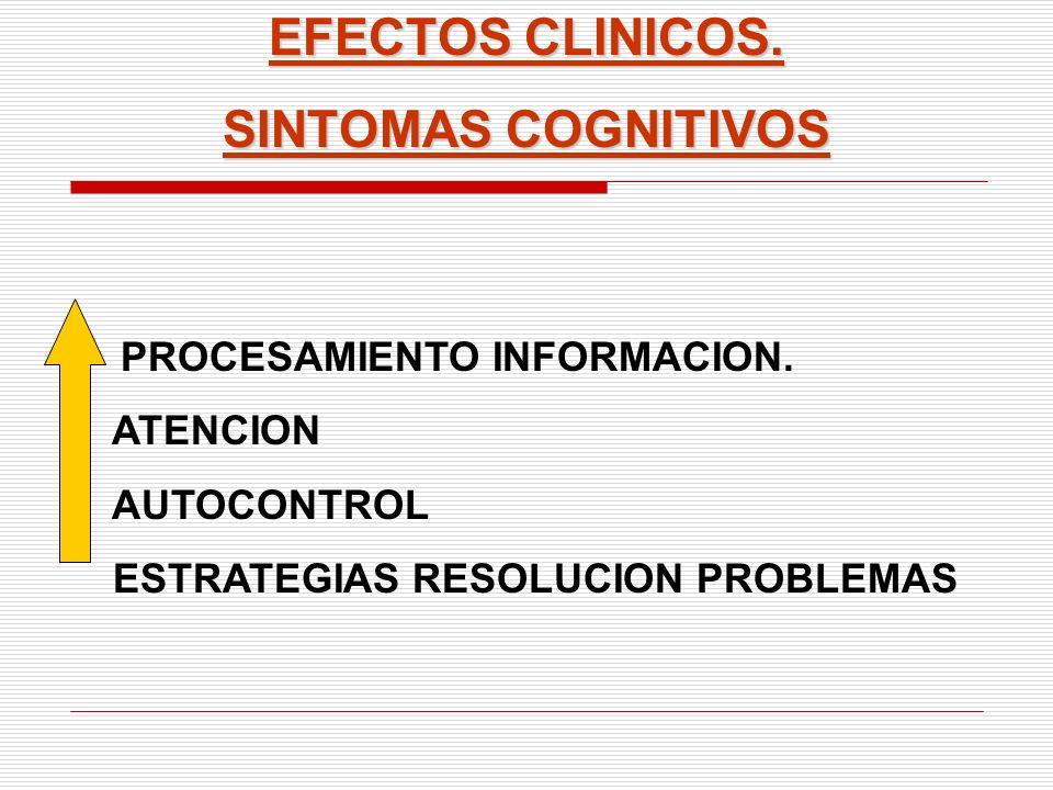 EFECTOS CLINICOS. SINTOMAS COGNITIVOS