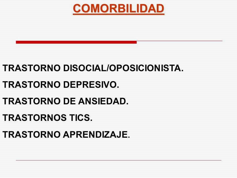 COMORBILIDAD TRASTORNO DISOCIAL/OPOSICIONISTA. TRASTORNO DEPRESIVO.