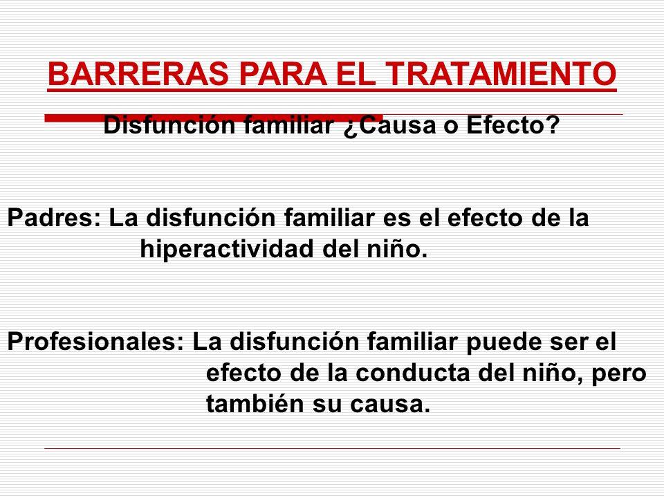 BARRERAS PARA EL TRATAMIENTO Disfunción familiar ¿Causa o Efecto