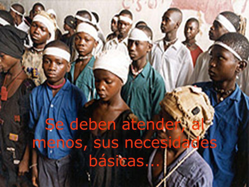 Se deben atender, al menos, sus necesidades básicas...