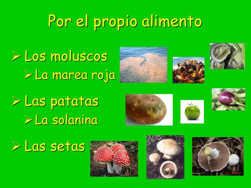 Por el propio alimento Los moluscos Las patatas Las setas