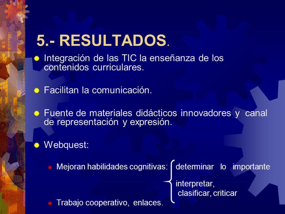 5.- RESULTADOS. Integración de las TIC la enseñanza de los contenidos curriculares. Facilitan la comunicación.