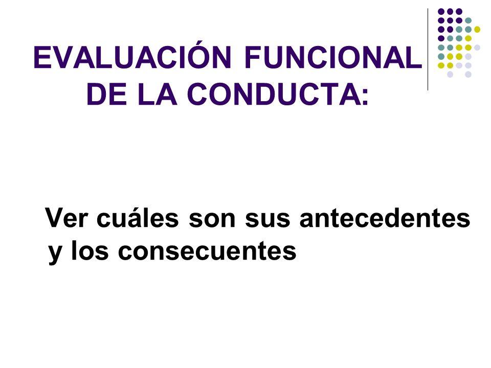 EVALUACIÓN FUNCIONAL DE LA CONDUCTA: