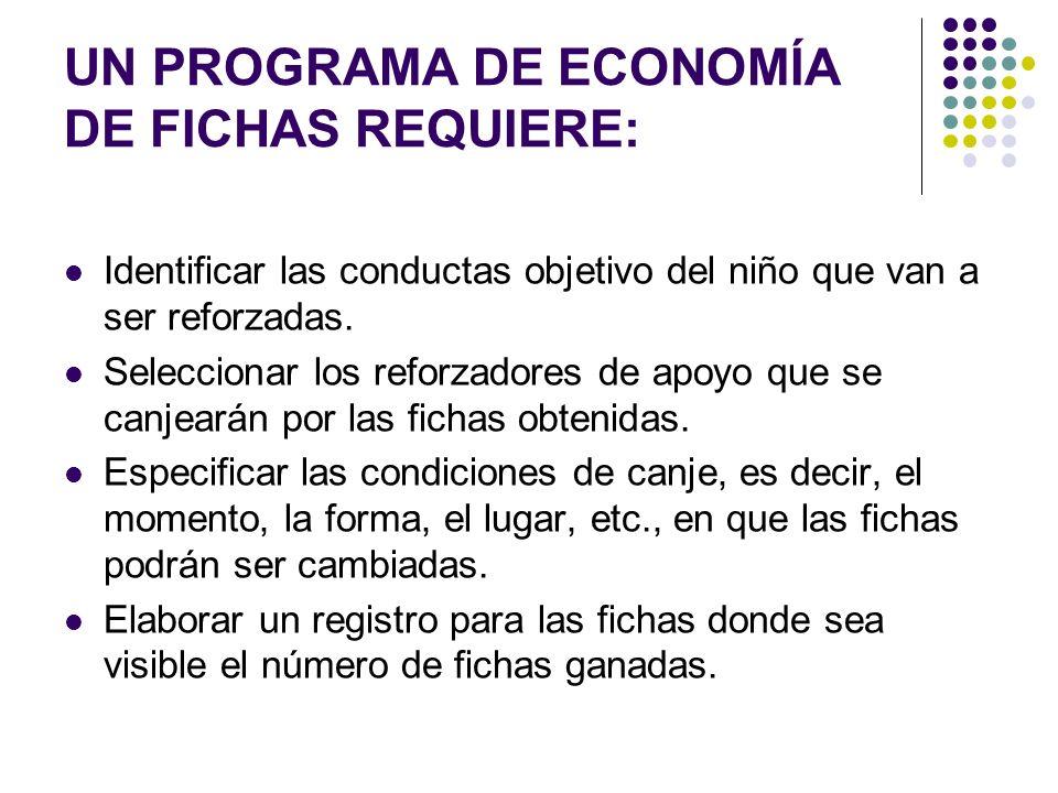 UN PROGRAMA DE ECONOMÍA DE FICHAS REQUIERE: