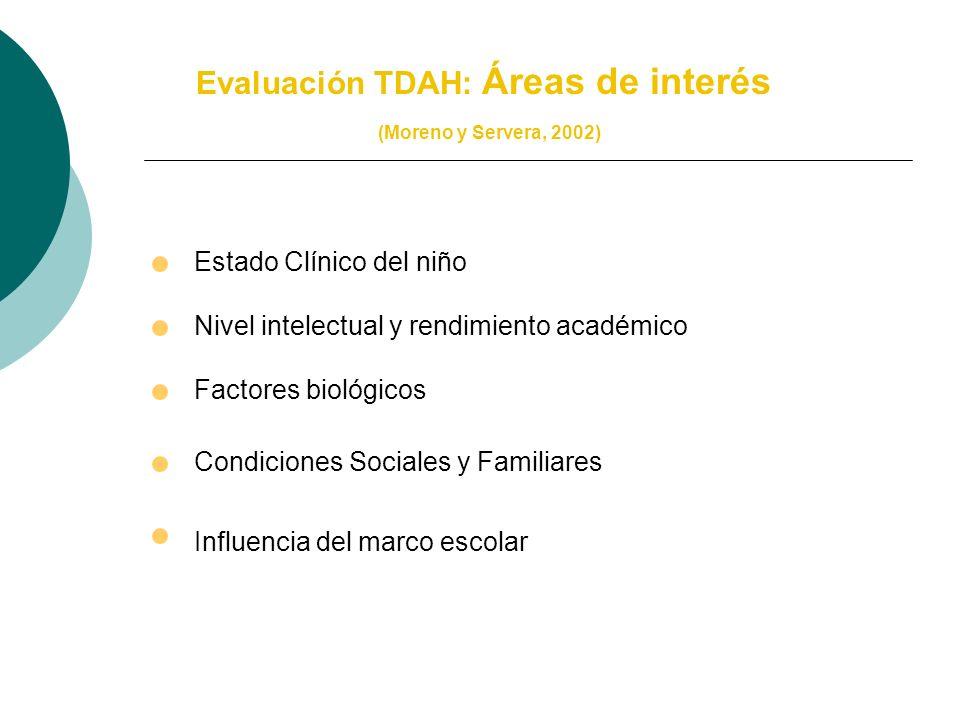 Evaluación TDAH: Áreas de interés