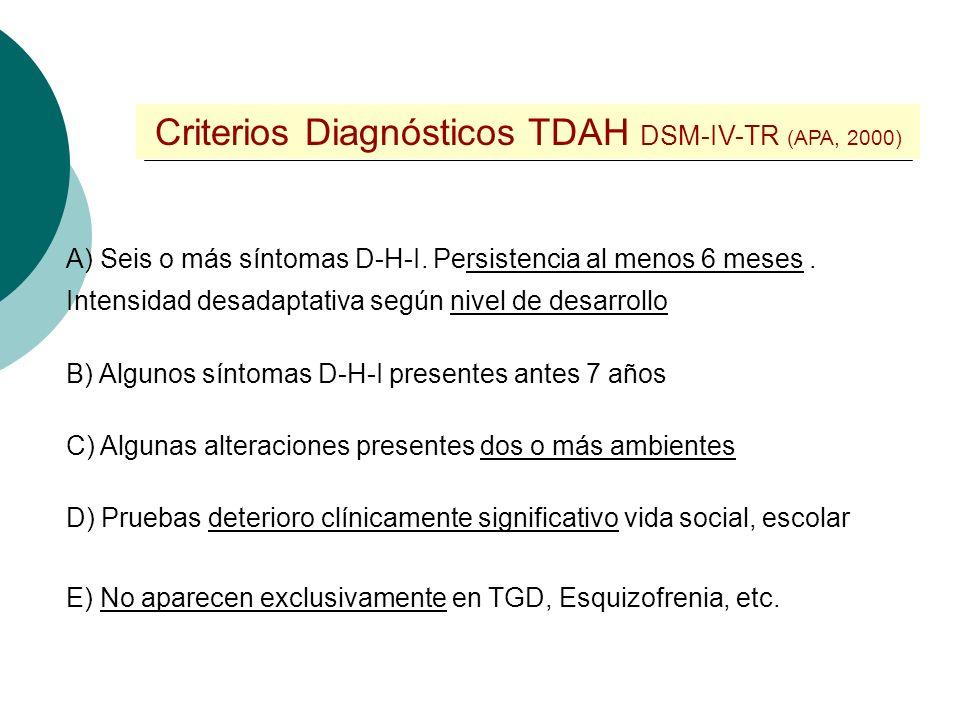 Criterios Diagnósticos TDAH DSM-IV-TR (APA, 2000)