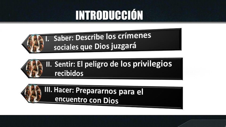 INTRODUCCIÓN I. Saber: Describe los crímenes sociales que Dios juzgará