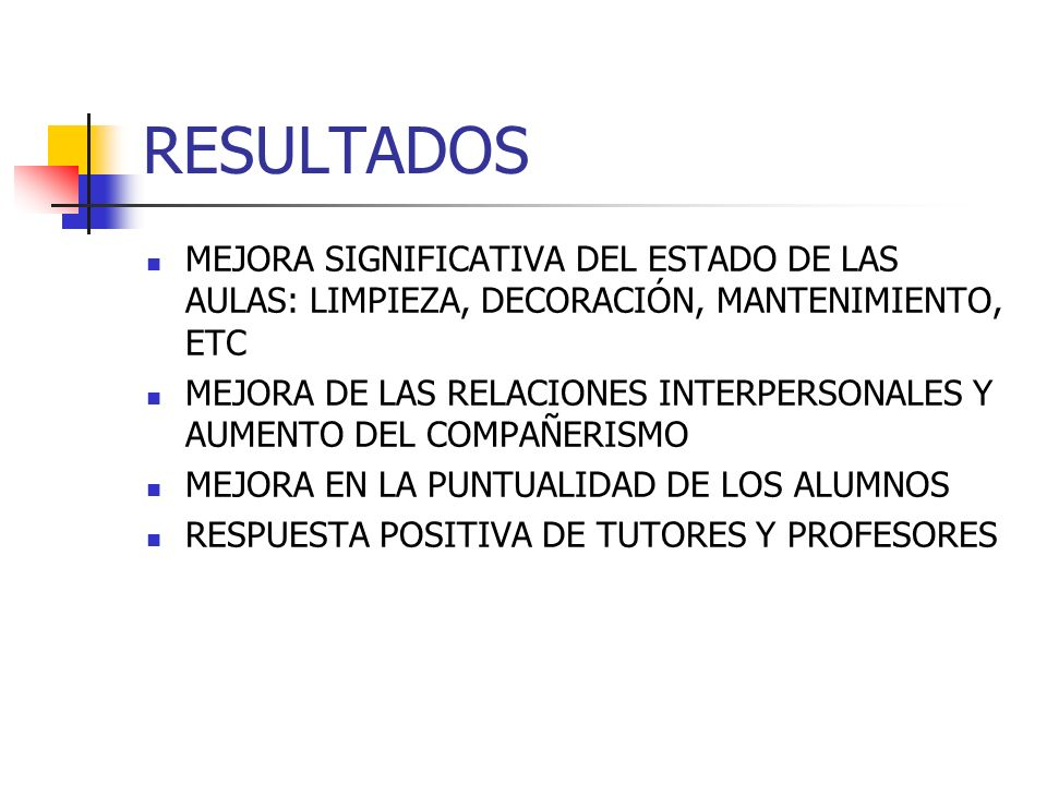 RESULTADOSMEJORA SIGNIFICATIVA DEL ESTADO DE LAS AULAS: LIMPIEZA, DECORACIÓN, MANTENIMIENTO, ETC.