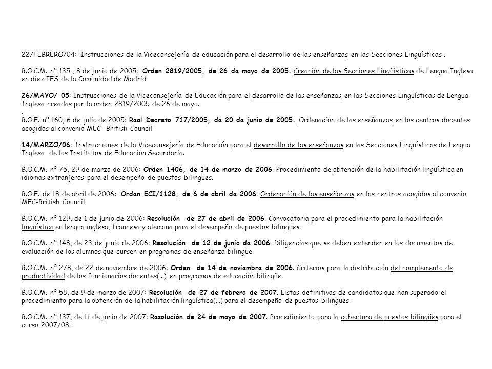 22/FEBRERO/04: Instrucciones de la Viceconsejería de educación para el desarrollo de las enseñanzas en las Secciones Linguísticas .