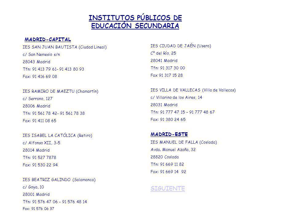 INSTITUTOS PÚBLICOS DE EDUCACIÓN SECUNDARIA