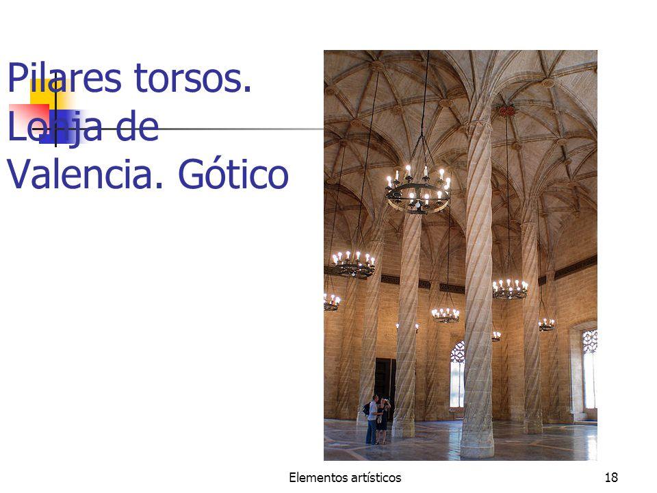 Pilares torsos. Lonja de Valencia. Gótico