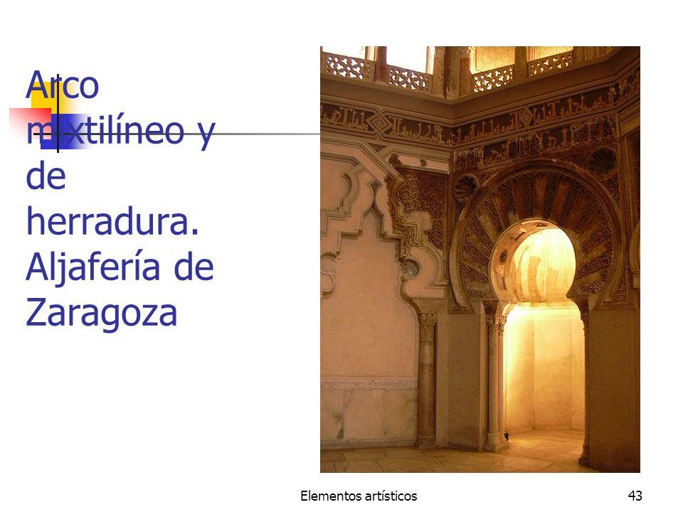Arco mixtilíneo y de herradura. Aljafería de Zaragoza