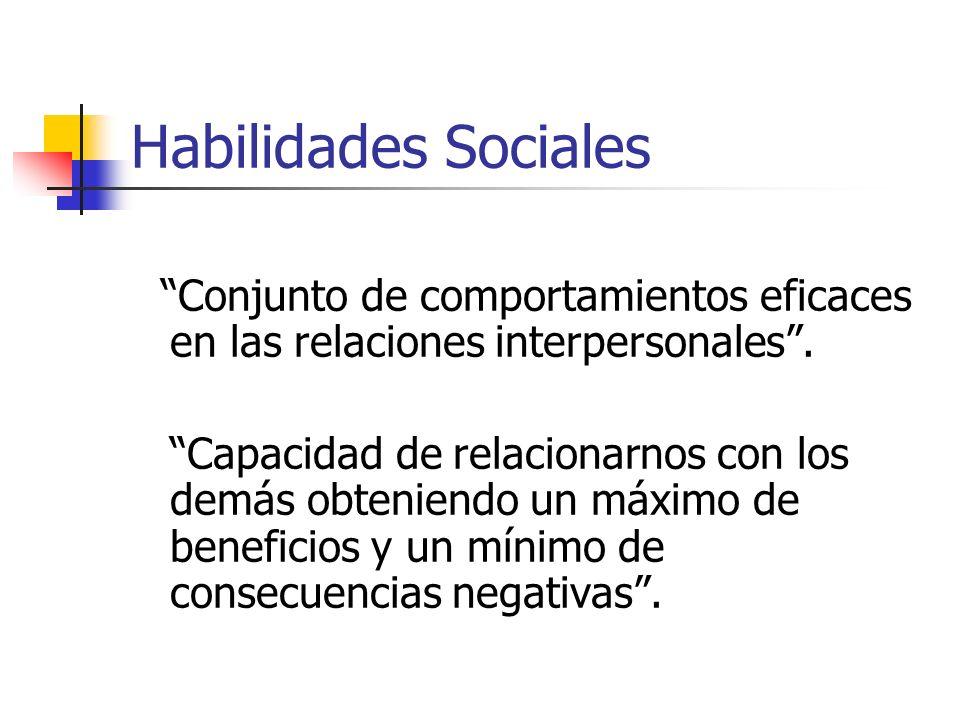 Habilidades Sociales Conjunto de comportamientos eficaces en las relaciones interpersonales .