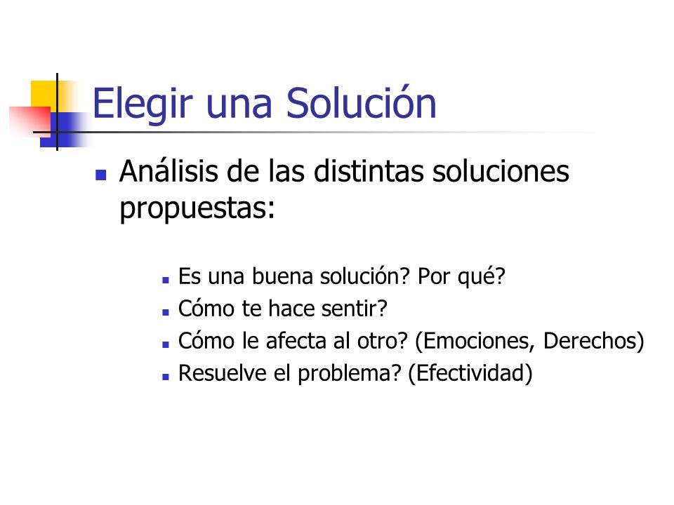 Elegir una Solución Análisis de las distintas soluciones propuestas:
