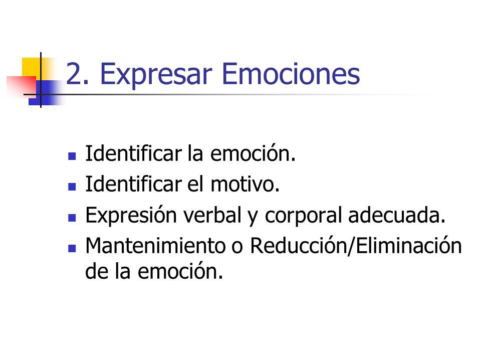 2. Expresar Emociones Identificar la emoción. Identificar el motivo.