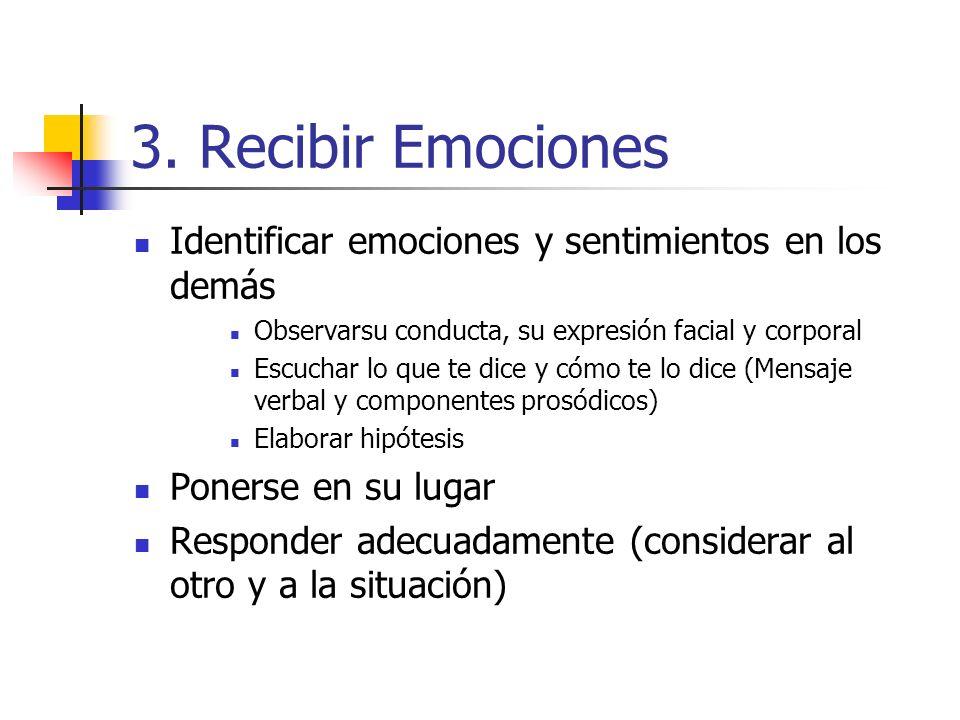 3. Recibir Emociones Identificar emociones y sentimientos en los demás