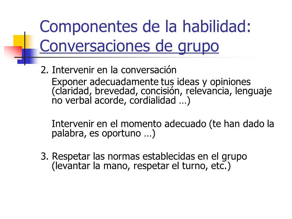 Componentes de la habilidad: Conversaciones de grupo