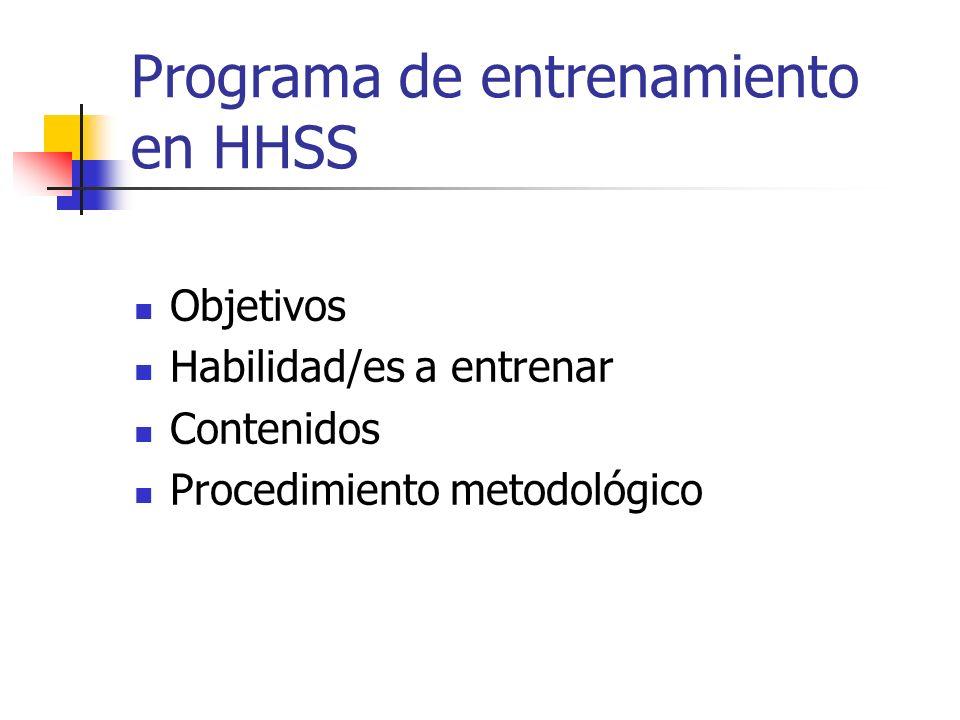 Programa de entrenamiento en HHSS