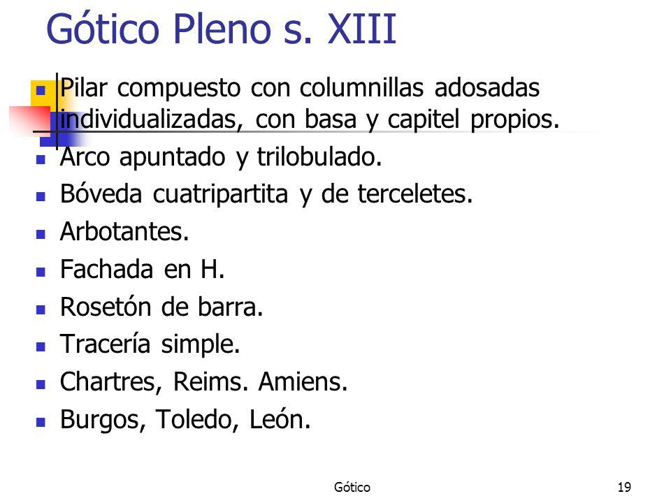 Gótico Pleno s. XIII Pilar compuesto con columnillas adosadas individualizadas, con basa y capitel propios.