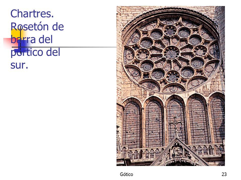 Chartres. Rosetón de barra del pórtico del sur.