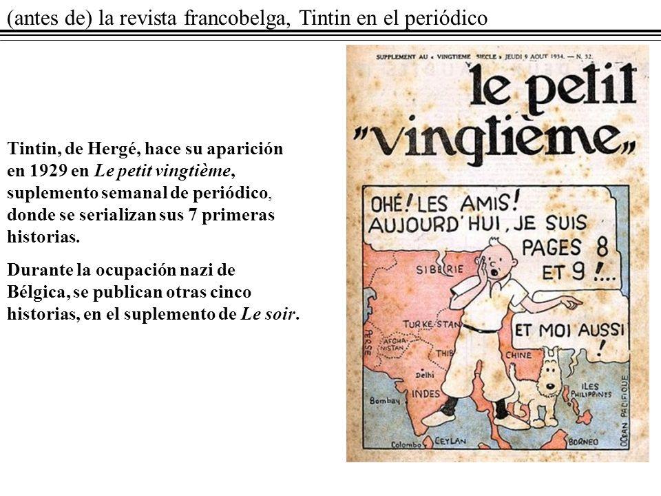 (antes de) la revista francobelga, Tintin en el periódico