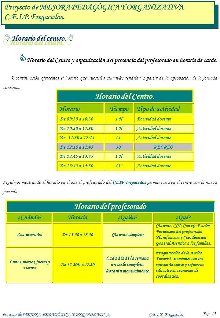 Proyecto de MEJORA PEDAGÓGICA Y ORGANIZATIVA