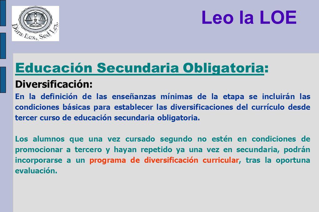 Leo la LOE Educación Secundaria Obligatoria: Diversificación: