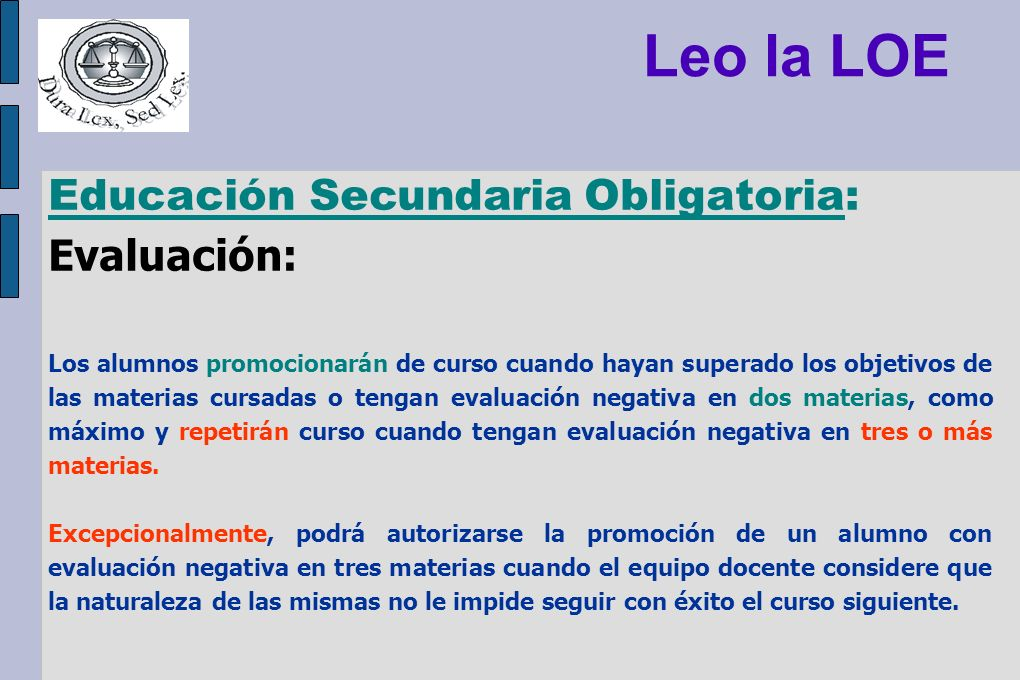 Leo la LOE Educación Secundaria Obligatoria: Evaluación: