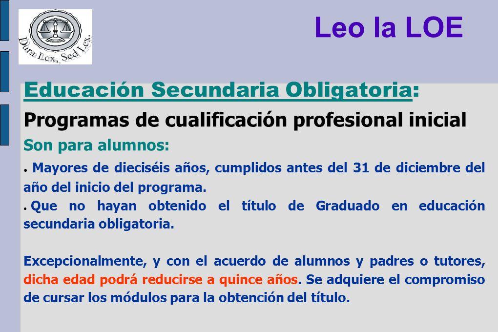 Leo la LOE Educación Secundaria Obligatoria: