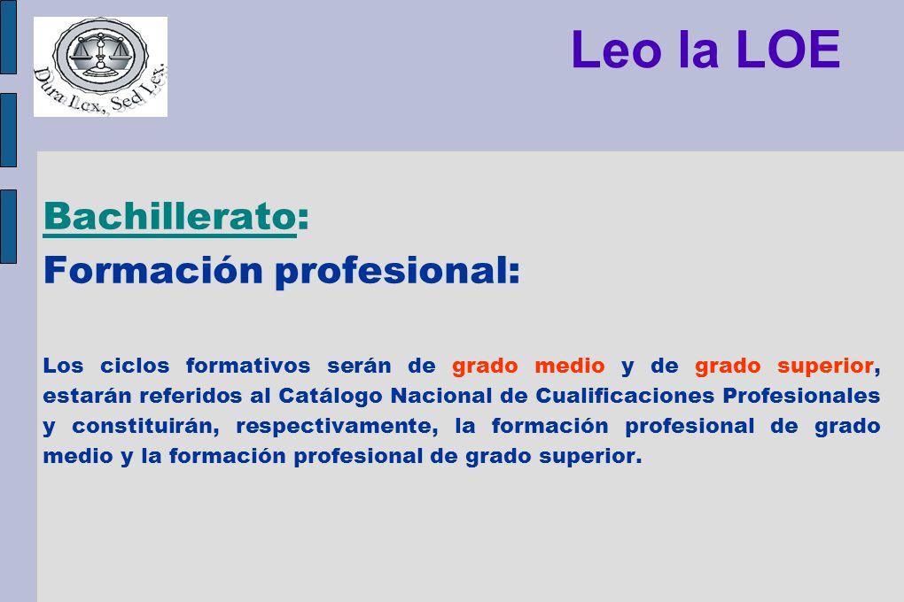 Leo la LOE Bachillerato: Formación profesional: