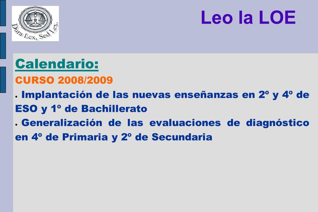 Leo la LOE Calendario: CURSO 2008/2009