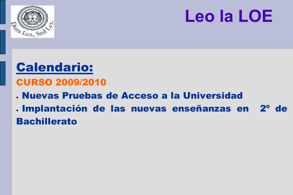 Leo la LOE Calendario: CURSO 2009/2010