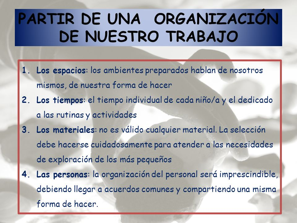 PARTIR DE UNA ORGANIZACIÓN DE NUESTRO TRABAJO