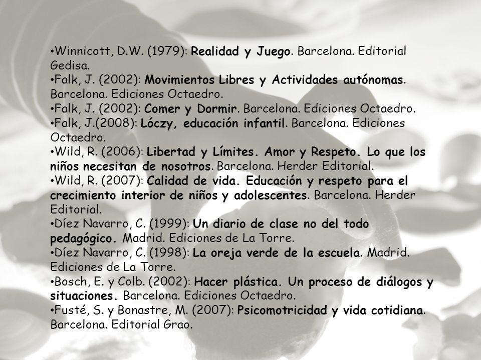 Winnicott, D.W. (1979): Realidad y Juego. Barcelona. Editorial Gedisa.