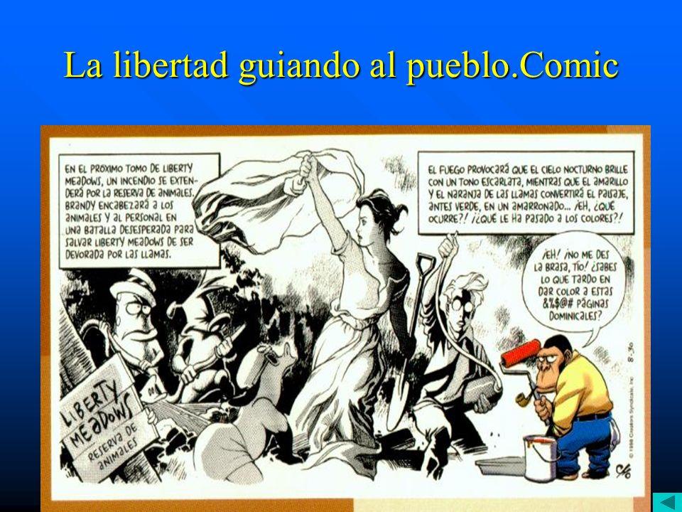 La libertad guiando al pueblo.Comic