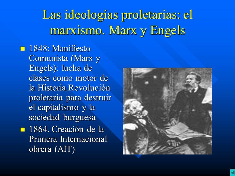 Las ideologías proletarias: el marxismo. Marx y Engels