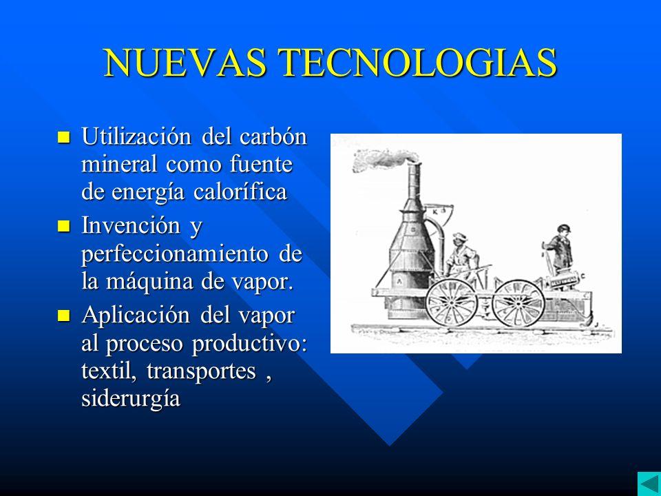 NUEVAS TECNOLOGIAS Utilización del carbón mineral como fuente de energía calorífica. Invención y perfeccionamiento de la máquina de vapor.