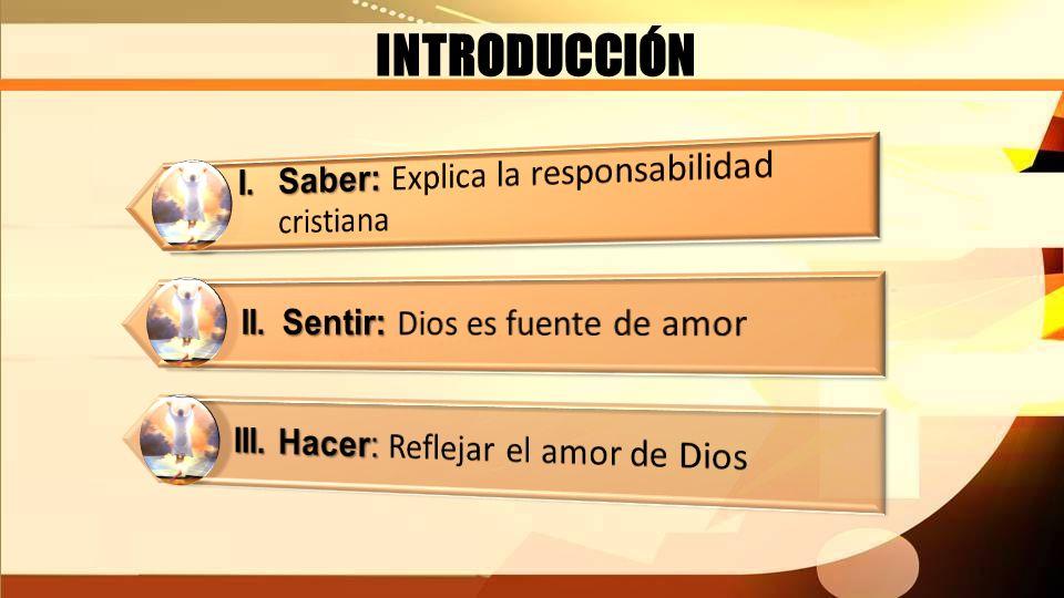 INTRODUCCIÓN I. Saber: Explica la responsabilidad cristiana