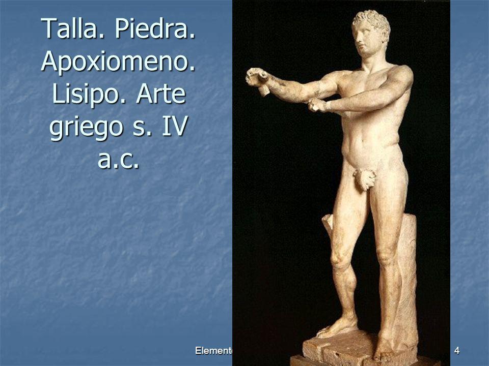 Talla. Piedra. Apoxiomeno. Lisipo. Arte griego s. IV a.c.
