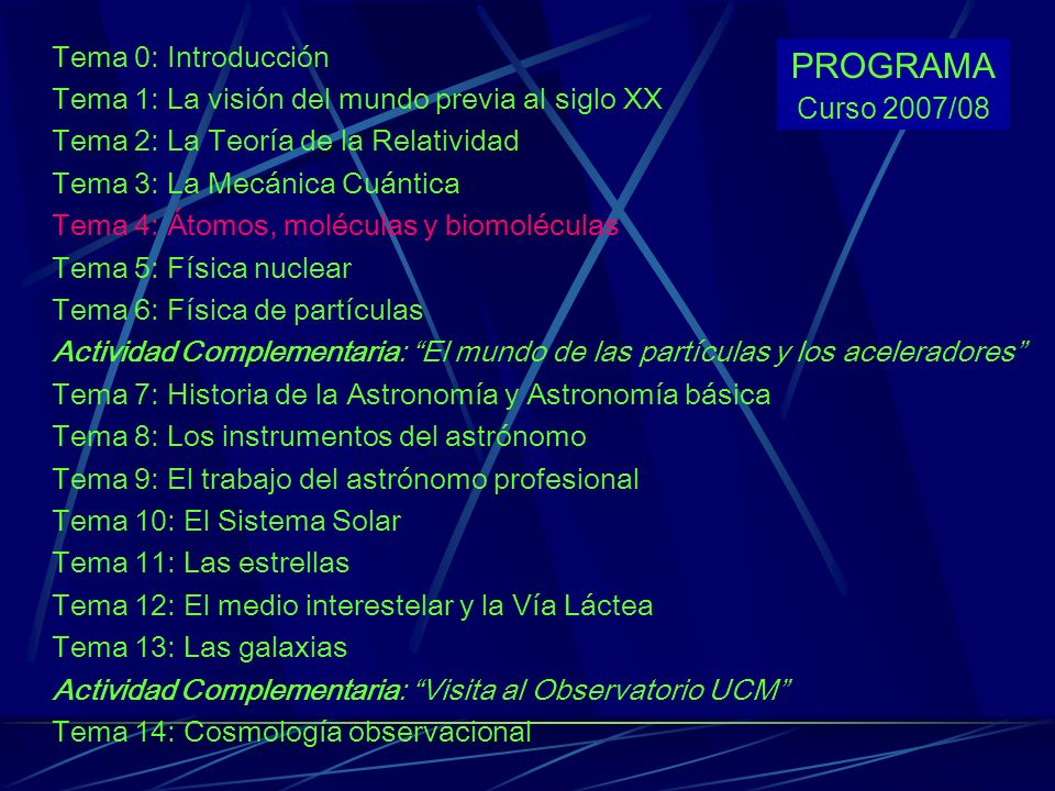 PROGRAMA Tema 0: Introducción