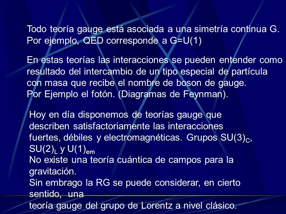 Todo teoría gauge está asociada a una simetría continua G.