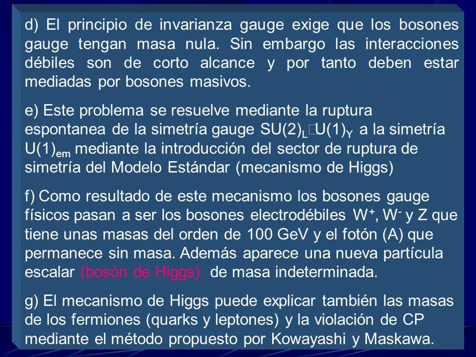 d) El principio de invarianza gauge exige que los bosones gauge tengan masa nula. Sin embargo las interacciones débiles son de corto alcance y por tanto deben estar mediadas por bosones masivos.