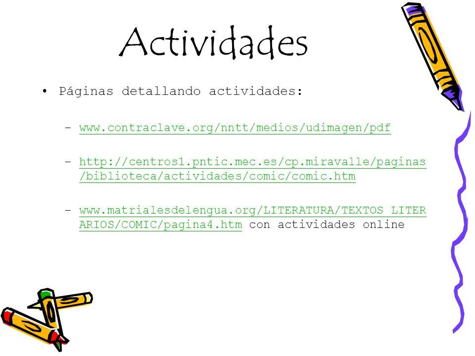 Actividades Páginas detallando actividades: