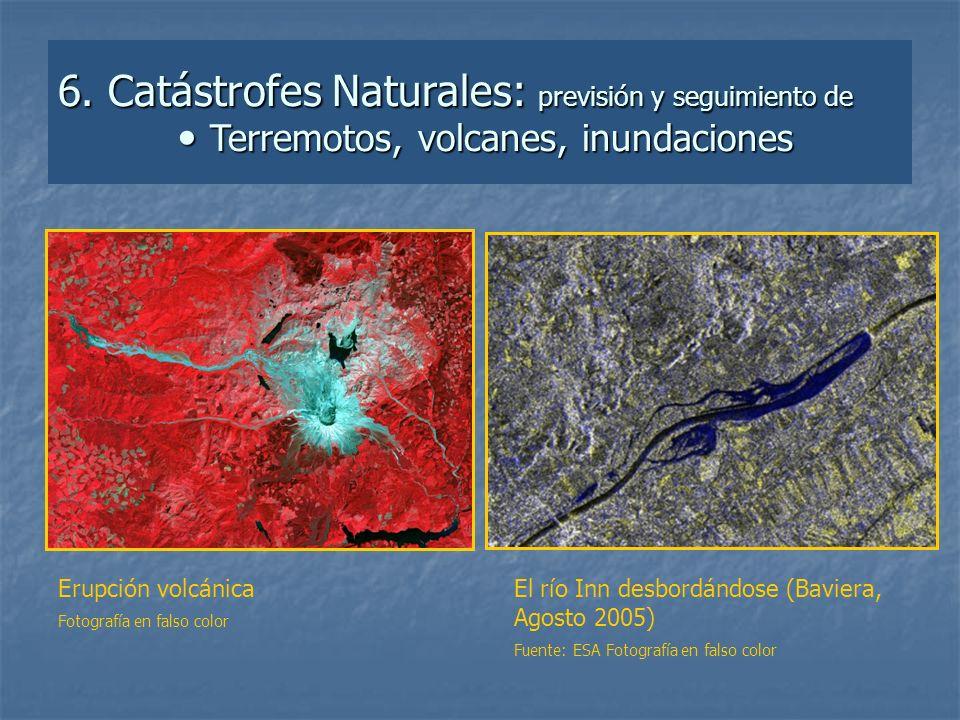 6. Catástrofes Naturales: previsión y seguimiento de  Terremotos, volcanes, inundaciones