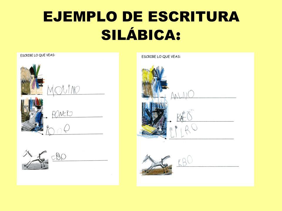 EJEMPLO DE ESCRITURA SILÁBICA: