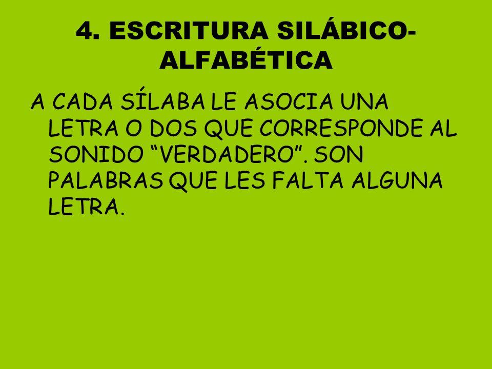 4. ESCRITURA SILÁBICO- ALFABÉTICA