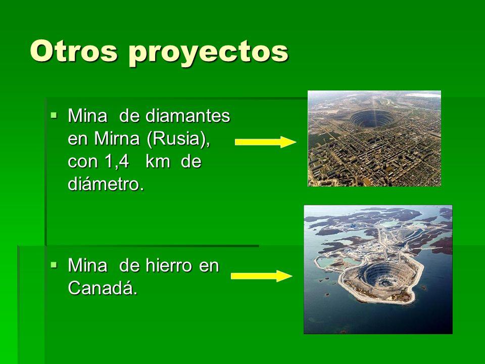Otros proyectosMina de diamantes en Mirna (Rusia), con 1,4 km de diámetro.