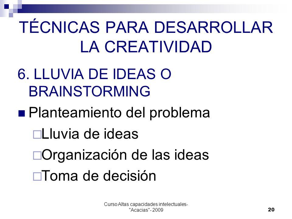 TÉCNICAS PARA DESARROLLAR LA CREATIVIDAD